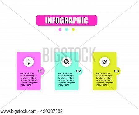 Business Vector Design Template Icon For Illustration. Squares And Colored Bars 3 Steps To Present O