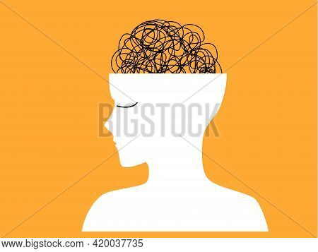 Mental Health, Illness ,brain Development ,medical Treatment  Concept,  Messy Lines Of Thinks In Hum
