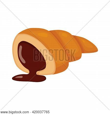 Cut Croissant. Vector Illustration Of Sweet Pastries Isolated On White Background. Illustration For