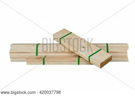 Pine Boards Tied With Green Plastic Rope. Beautiful Wooden Pattern, Plank Suitable For Furniture Or