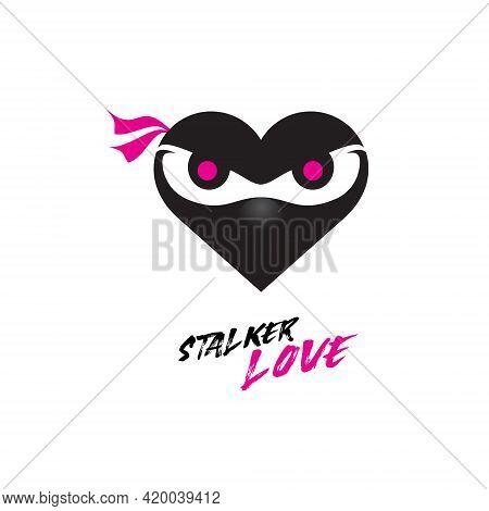 A Combination Of Love Or Heart Shape With Cute Ninja Head