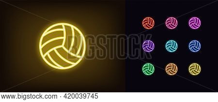 Neon Volley Ball Icon. Glowing Neon Volleyball Sign, Outline Ball Pictogram In Vivid Color. Online G