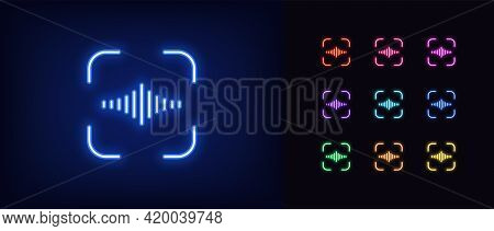 Neon Voice Identify Icon. Glowing Neon Voice Sign, Outline Speech Recognition Pictogram. Personal Vo