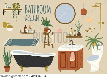 Vector Set Of Bathroom Accessories And Furniture. Hand Drawn Home Bath Interior Isolated Objects. Ba