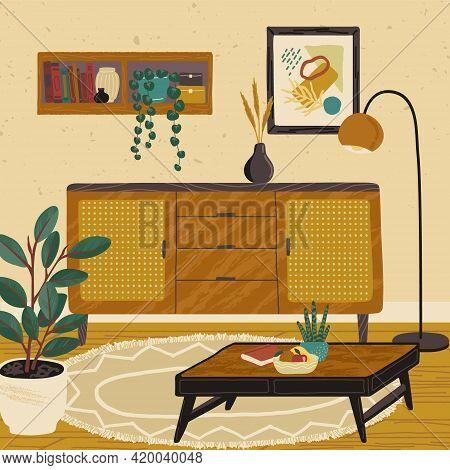 Home Modern Interior Design. Living Room Interior Hand Drawn Vector Illustration. Cozy Room Furnitur