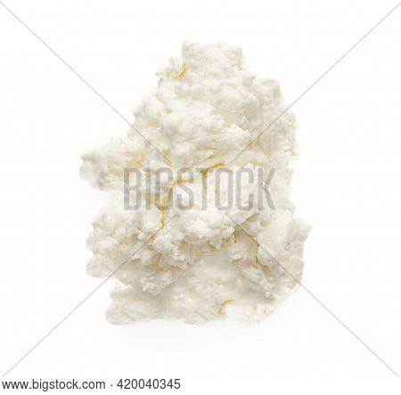 Cottage Cheese Isolated On White Background Closeup. Diary Products With High Protein. Top View
