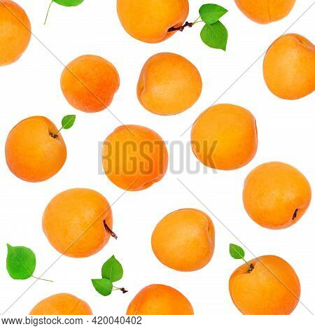 Fresh Apricot Fruits With Leaves Isolated On White Background. Top View. Flat Lay. Apricot Pattern
