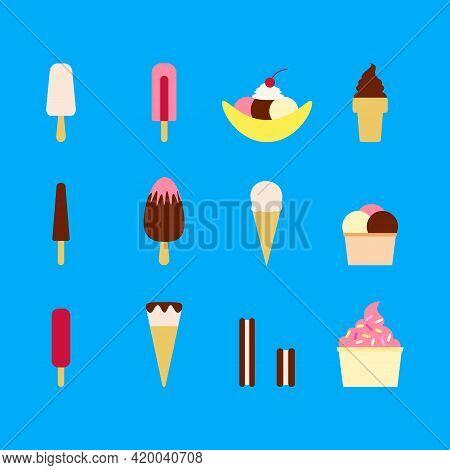 Flat Vector Illustration Of Set Of Various Types Of Ice Cream Including Frozen Yogurt, Gelato, Soft