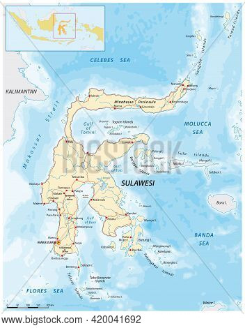 Vector Road Map Of The Greater Sunda Island Sulawesi, Indonesia