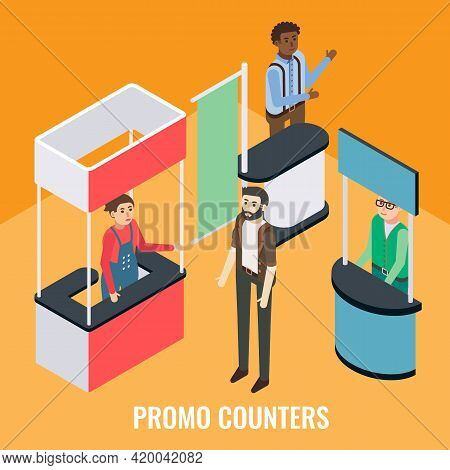 Trade Show, Fair, Exhibition Event Scene, Vector Isometric Illustration. Sales Promoters Standing Be