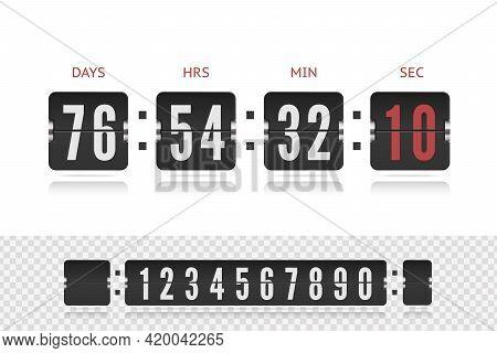 Vintage Flip Clock Time Counter Vector Template. Retro Design Score Board Clock. Scoreboard Countdow