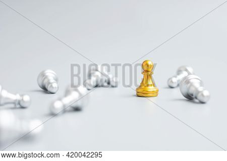 Gold Chess Pawn Figure Stand Out From Crowd Of Enermy Or Opponent. Strategy, Success, Management, Bu
