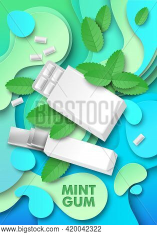 Mint Chewing Gum Ads Template, Vector Illustration. Pad And Slab Bubble Gum Package Mockup, Paper Cu