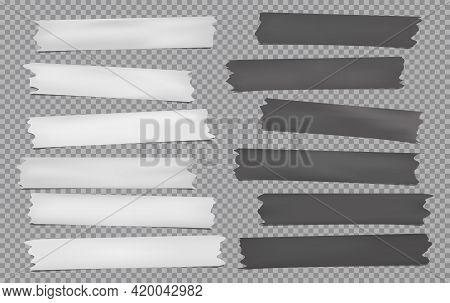 White, Dark Grey Different Size Adhesive, Sticky, Masking, Duct Tape, Paper Pieces Are On Squared Ba