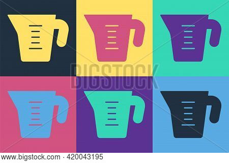 Pop Art Measuring Cup To Measure Dry And Liquid Food Icon Isolated On Color Background. Plastic Grad