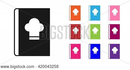 Black Cookbook Icon Isolated On White Background. Cooking Book Icon. Recipe Book. Fork And Knife Ico