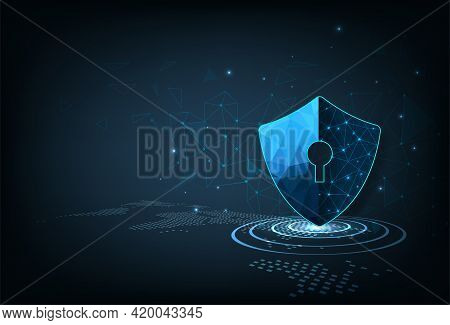 Security Shield.security Shield Icon Digital Display Over On Dark Blue Background.technology For Onl