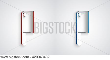 Paper Cut Meat Chopper Icon Isolated On Grey Background. Kitchen Knife For Meat. Butcher Knife. Pape