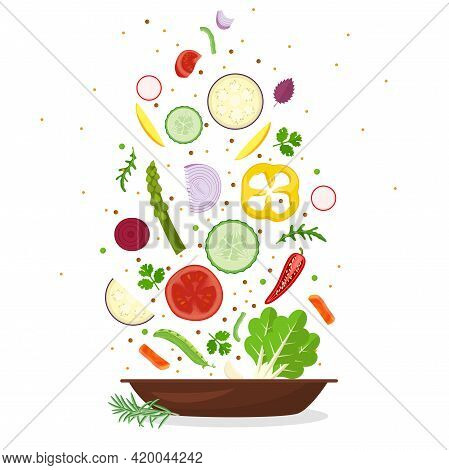 Vector Healthy Food Vegetable Plate. Fresh, Farm Market, Natural, Organic Fresh Vegetables . Cooking