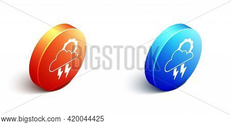 Isometric Storm Icon Isolated On White Background. Cloud With Lightning And Sun Sign. Weather Icon O