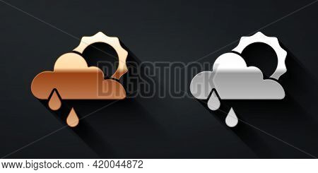 Gold And Silver Cloud With Rain And Sun Icon Isolated On Black Background. Rain Cloud Precipitation