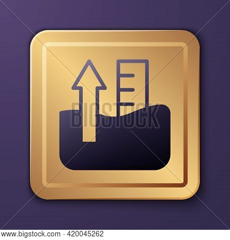 Purple Rise In Water Level Icon Isolated On Purple Background. Gold Square Button. Vector