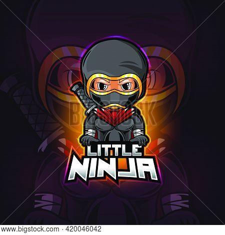 Little Ninja Mascot Esport Logo Design Of Illustration