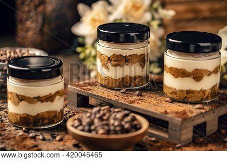 Tiramisu Dessert In Jar, Traditional Italian Dessert Serving In Jar