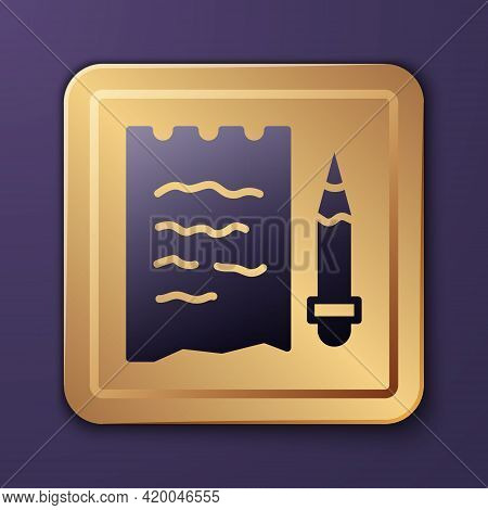 Purple Shopping List And Pencil Icon Isolated On Purple Background. Gold Square Button. Vector