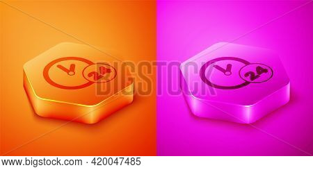 Isometric Clock 24 Hours Icon Isolated On Orange And Pink Background. All Day Cyclic Icon. 24 Hours
