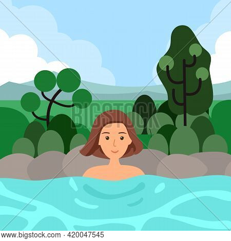 Woman Relaxing Bath In Hot Spring Japanese Onset In Flat Design. Body Relaxation.