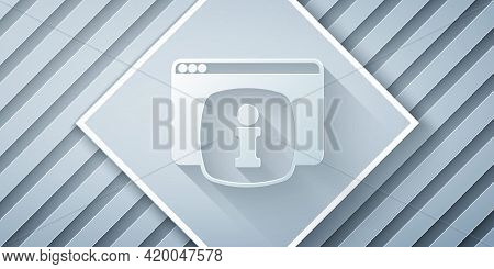 Paper Cut Computer Monitor With Text Faq Information Icon Isolated On Grey Background. Frequently As