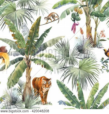 Beautiful Vector Seamless Pattern With Watercolor Tropical Palms And Jungle Animals Tiger, Giraffe,