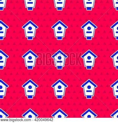 Blue Bird House Icon Isolated Seamless Pattern On Red Background. Nesting Box Birdhouse, Homemade Bu