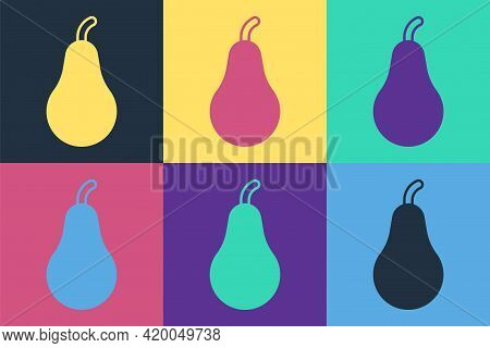 Pop Art Pear Icon Isolated Pop Art Background. Fruit With Leaf Symbol. Vector