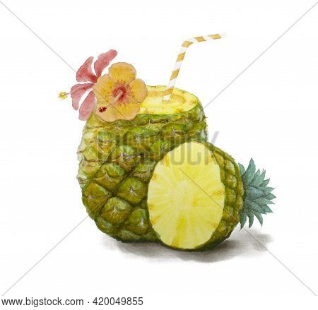 Pineapple Fruit Illustration Watercolor Drawing, Yellow Fruits Juice Drinking And Hibiscus Flower Is