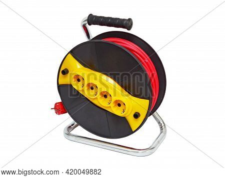 Power Cable With Plug Socket. Roll Cable Isolated On White.