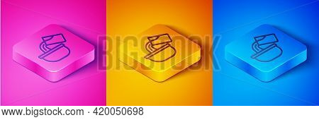 Isometric Line Saucepan Icon Isolated On Pink And Orange, Blue Background. Cooking Pot. Boil Or Stew