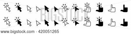 Set Of Flat Icons Of The Cursor Of A Computer Mouse And Other Electronic Devices. Cursor Arrow And P