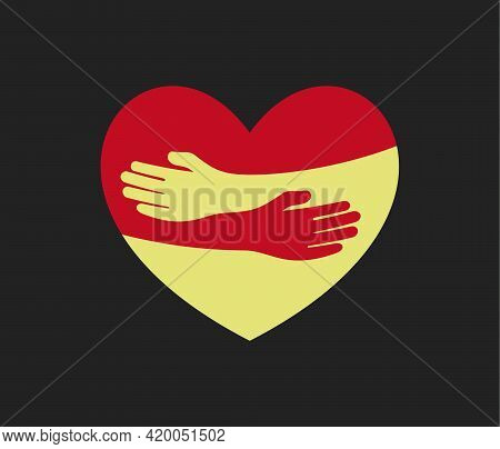 Human Hugs In Heart Shape, Hugging Hands Support And Love Symbol Hugged Arms Girth Silhouette Unity