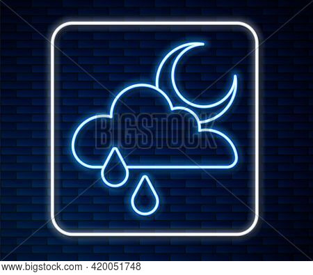 Glowing Neon Line Cloud With Rain And Moon Icon Isolated On Brick Wall Background. Rain Cloud Precip