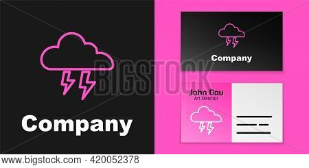 Pink Line Storm Icon Isolated On Black Background. Cloud And Lightning Sign. Weather Icon Of Storm.