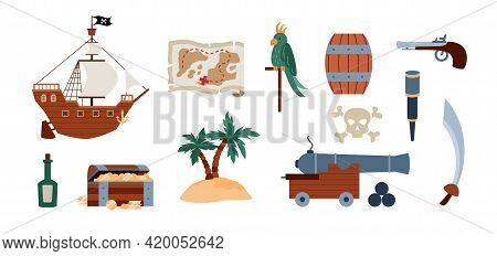 Colorful Vector Cartoon Set Of Pirate Icons For Piracy Design.
