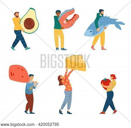 Set Of People Carrying Ketogenic Diet Food, Cartoon Vector Illustration Isolated.