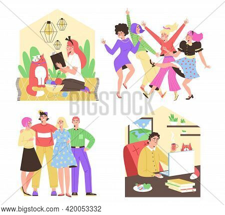 Introvert And Extrovert Mental Psychotypes Flat Vector Illustration Isolated.