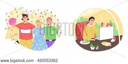 Personality And Mental Features Of Extroverts And Introvert A Vector Illustration