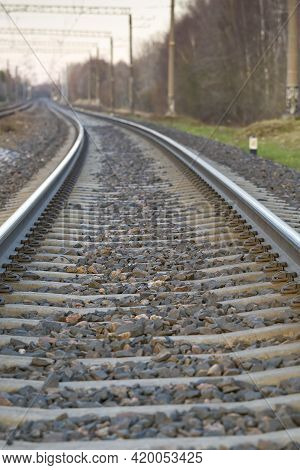 Railroad Rails On Concrete Sleepers. Updated Railway For High-speed, Express Train Railway