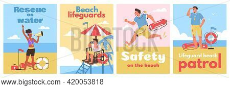 Lifeguards Working For Rescue Life, First Aid To Injured And Safety On Beach.
