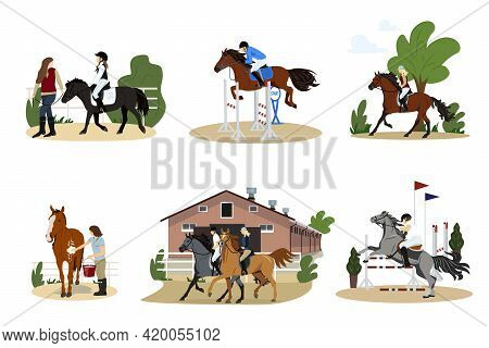 Gathering Of People On Horseback. A Group Of Cute Men, Women And Children Practicing Horse Riding Or