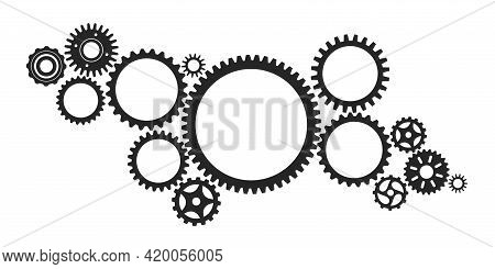 Gear System. Connected Cogwheels Systems, Machine Engine Mechanism. Abstract Technology Structure Wi